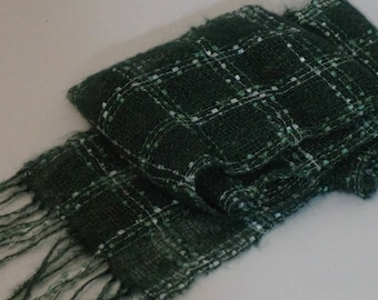 Hand woven scarf, scarf, women's scarf, holiday accessory, mohair scarf, ladies scarves, neck scarf, woven scarf, light weight, green scarf