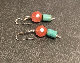 Coral/Turquoise Earrings, round Quartz , Vintage Silver, Dangling, Clearance Sale, Item No. S199e