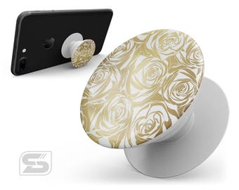 Gold and White Roses - Skin Decal Kit for the PopSocket Smartphone & Tablet Stand