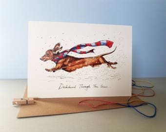 Dachshund Through The Snow Christmas Card - Festive Cow Card - Holiday Card - Greetings Card - Christmas Card