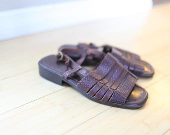 vintage braided woven brown leather hurache sandals womens 6
