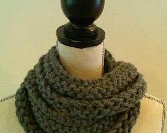 Sale slate gray chunky infinity scarf wool blend hand knit