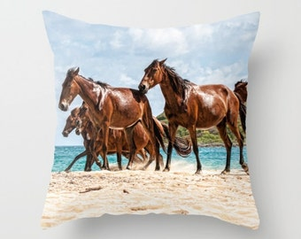 Horses on the Beach Pillow Cover