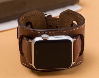 brown apple watch band, leather iwatch band, 38mm Watch band, 42mm Apple Watch band, handmade watch band, watch band series 3, series 2