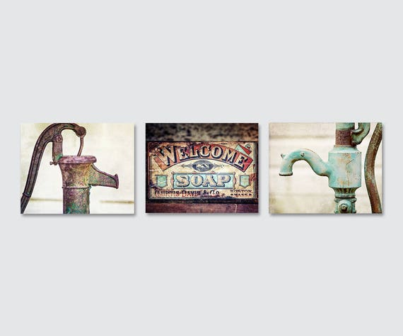 Rustic Bathroom Wall Art | Rustic Bathroom Wall Decor | Bathroom Prints Or  Canvas | Set Of 3 | Red Teal Turquoise Bathroom Wall Decor Set