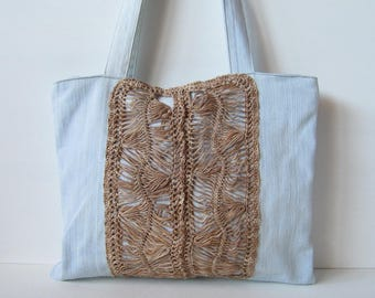 Light denim bag, with central stripe in brown cotton with shaded fork, jeans bag, hand bags, crochet bag and fork