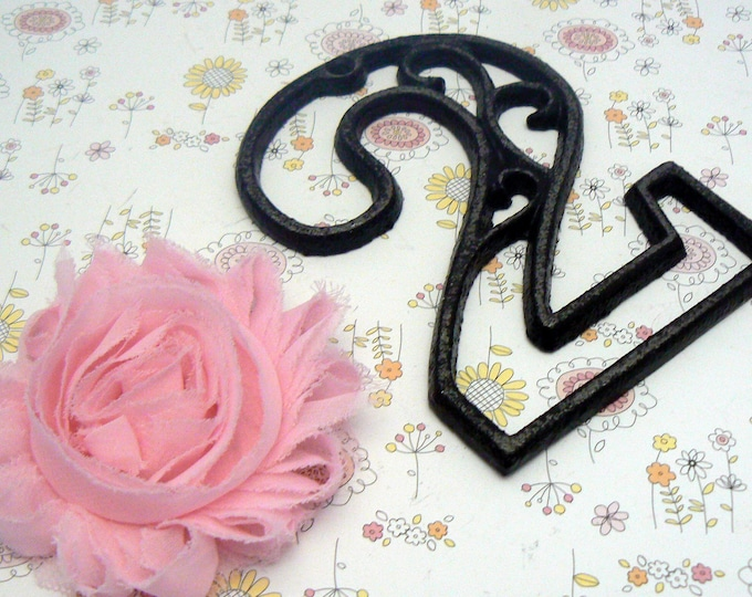 """House Mailbox """" Number 2 Two """" 4.5 Inches Cast Iron Black Shabby Chic Victorian Table Address Accent Number #2"""