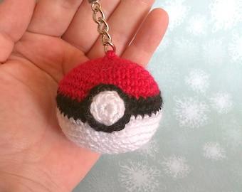Crochet keychain Poké Ball handbag/crochet Poké Ball Keychain