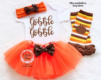 Baby Girl Thanksgiving Outfit, Baby Thanksgiving Bodysuit, Leg warmers and bow, First Thanksgiving Outfit, Gobble Gobble Shirt Outfit HT2