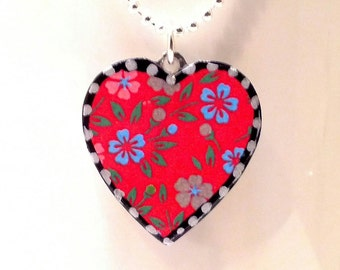 Red Floral print Heart Pendant. Lovingly Handmade in Brooklyn by Wishing Well Studio