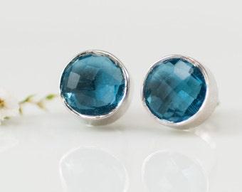 London Blue Topaz Stud Earrings, December Birthstone Studs, Sterling Silver Gemstone Studs, Crystal Earrings, Shower Gift, Gifts for Mom