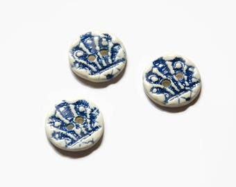 3 Porcelain Buttons Handmade - Ceramic Button Blue White Lace Buttons 23mm Clay Button Gift for Knitters Sewing Buttons Luxury Buttons Blue
