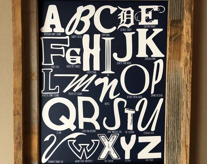 The Alphabet of Detroit Word Art (Dark Blue) - Unframed