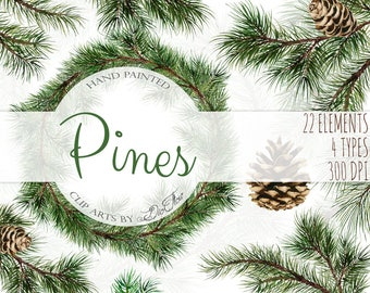 Watercolor Pine Clipart Winter Clip Art Christmas Branches Winter Pines Wedding Invitation Greenery White Xmas Leaves Evergreen Pine Cones