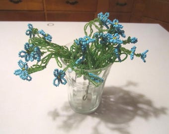 Vintage Lot of 4 Glass Beaded Flowers Blue and Green Floral Sprays