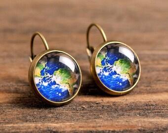 Planet Earth earrings, map earrings, dangle earrings, glass dome earrings, antique brass earrings, antique bronze / silver plated base