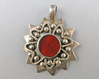 Vintage Sterling Pendant Carnelian Agate Jewelry Silver Jewelry Vintage Jewellery