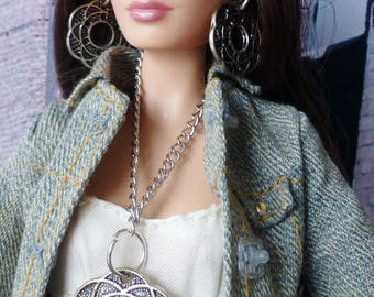 Fashion Doll Jewelry Set Necklace Earrings Silver Coin Charm Pink Bead Poppy Parker Model Barbie Silkstone