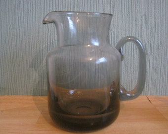 Heavy Grey Smoked Glass Jug/Pitcher
