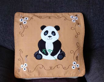 Panda pillow, cushion cover, handmade, applique, animal