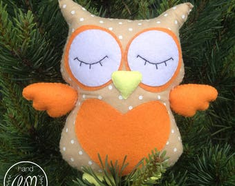 Cute Owl Baby felt toy, baby shower gift, Nursery Decoration, Baby Girl Bedroom Decor Personalized Gift
