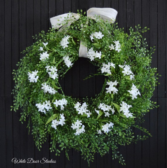 Summer Greenery and White Jasmine Wreath for Front Door or Wedding Decor