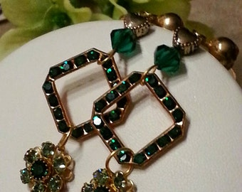Emerald Crystal Rhinestone Earrings, Dangle Earrings, Gold, Vintage Screw Backs, Dangle Style, Greens, Dress Accessory