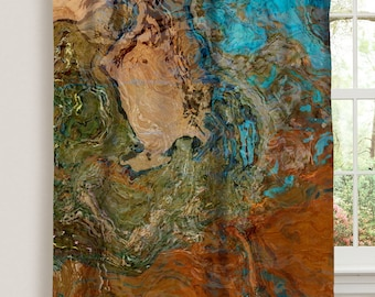 "Abstract art window curtain in orange, turquoise and copper, 50""x84"" blackout drapery panel, contemporary rod pocket curtain, Canyon Sunset"