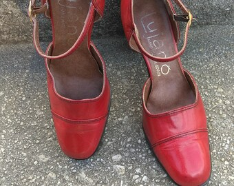 Vintage Lujano Handmade Red Leather Mary Janes Size 8M