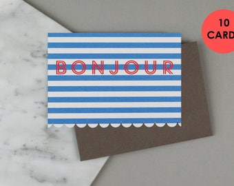 Birthday Card, French Card, Bonjour Card, Travel Card. BUNDLE OF 10 CARDS.