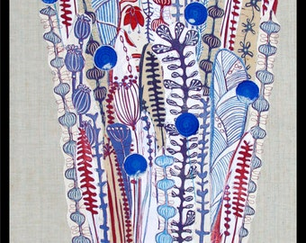 linocut, collage, floral art, red bird,  blue flowers, textile art, fiber art, one of a kind, original art, hand printed fabrics, red blue