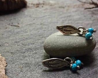 lifting the weight of the world - sterling feather and turquoise earrings