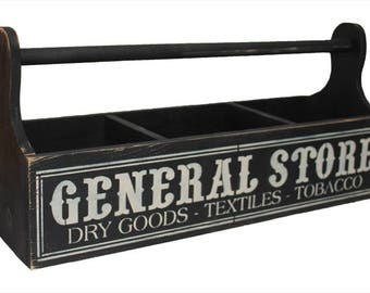 General Store Wood Tote Storage/Organizer Box