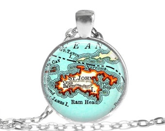 St. John Virgin Islands necklace pendant charm, St John map necklace, Map Jewelry by LocationInspirations, bride gift, wedding gift, A154
