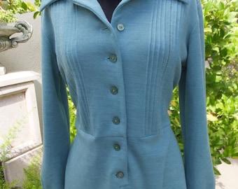 1970s Dress, Bleeker Street, Blue Green Knit, Bleeker Petites, Button Front