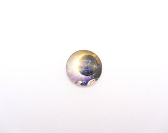 Round illustrated glass cabochon 18 mm galaxy, to stick
