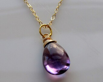 Royal Purple Amethyst Necklace in Gold