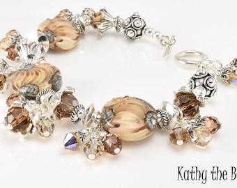 Lampwork Bracelet - Lampwork Dangle Swarovski Crystal Sterling Silver Bead Bracelet - KTBL