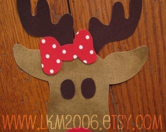 Rudolph Iron On Applique, Boy or Girl, You Choose Fabric