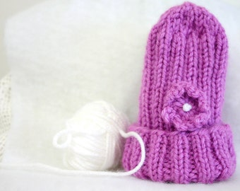 Orchid Pink Preemie Baby Hat- Hand Knit- XS Infant- Purple- Baby Girl- Premature Baby Beanie- Charity Donation- Free US Shipping