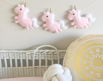 Felt Unicorn Party Garland, Unicorn Party Decoration, Baby Nursery, Plush Unicorn, 1st Birthday, Baby Girl, New Baby, Baby Shower
