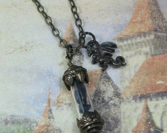 Black Obsidian Vial with Dragon Necklace, Obsidian Pendant, Dragon Charm Pendant, Volcanic Glass, Obsidian Jewelry