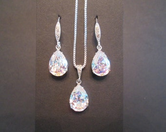 NEW White Patina Bridesmaid Jewelry Set/Swarovski Crystal/Bridesmaid /Crystal Necklace/Swarovski Crystal White Patina Earrings/Bridal Party