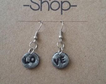 love earrings silvery earrings shine small pendants circles black space letter clay