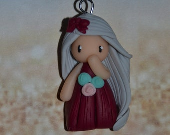 Poppet with polymer clay Burgundy dress, gray - Collection bridesmaid jewelry - jewelry handmade