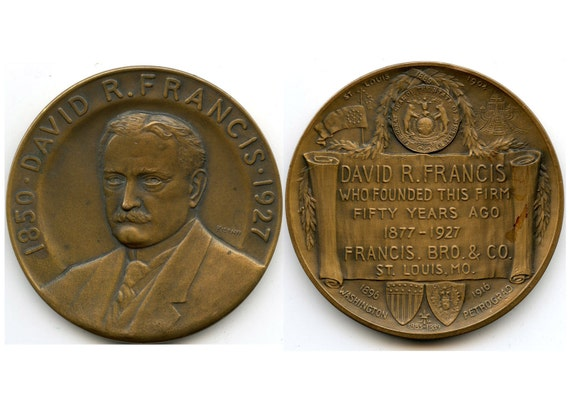 FREE SHIPPING-1850-1927-David R. Francis-Whitehead Hoag-St. Louis 1904 World's Fair-Medal-By Julio Kilenyi-Paperweight