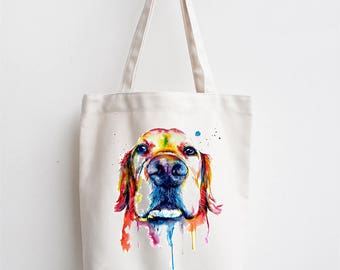 Golden Retreiver Labrador Water colour Premium Cotton Tote Bag Ideal Gift