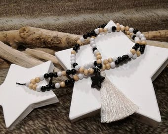 Wood beads necklace multicolored Black Star