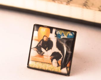 CAT RING, Black and White Ring, Square Ring, Adjustable Cat Ring, Gift For Her, Cat Lover Gift, Christmas Gift, Cameo Ring, Resin Ring, Gift