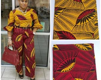 Red And Yellow Ankara Fabric; African Clothing; African Fabric; AfricanFabricinyard; African Headwrap;African print fabric ;Ankara
